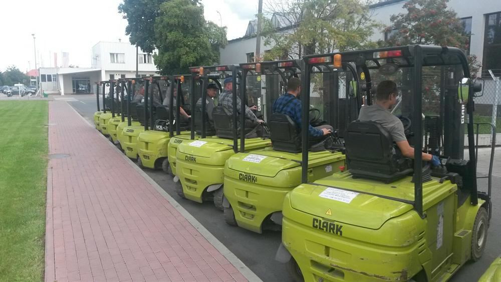 44 CLARK electric forklifts in operation
